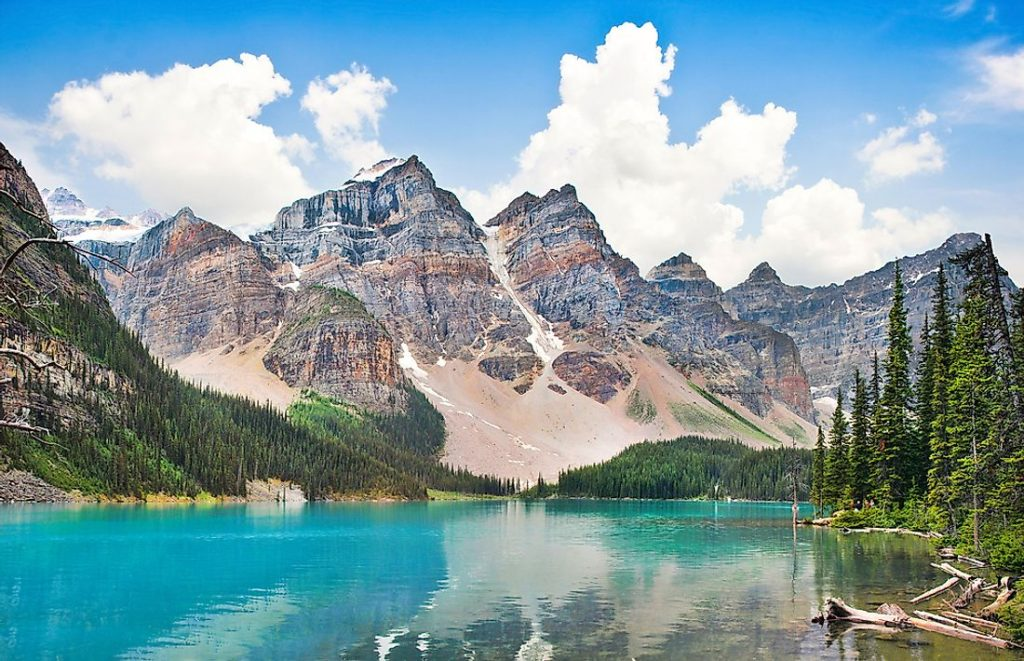 The Rocky Mountains and Moraine Lake in Alberta, Canada