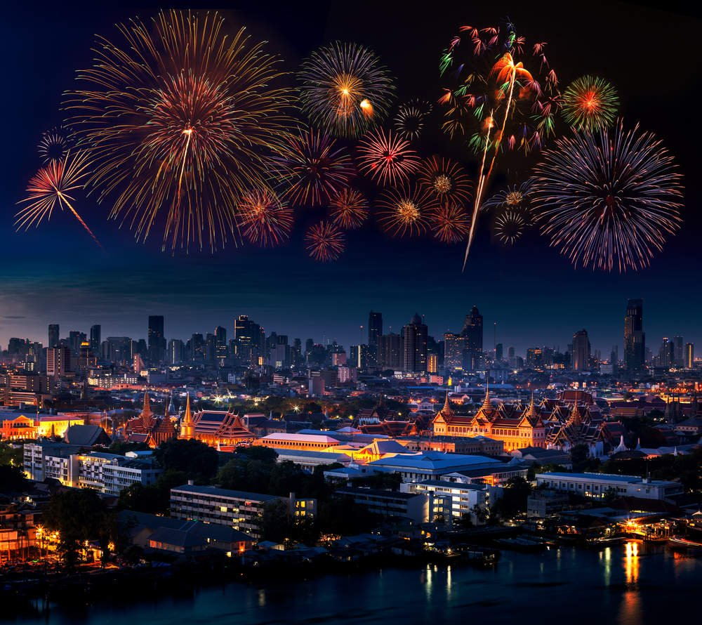 Firework over The Grand Palace in New Year Celebration