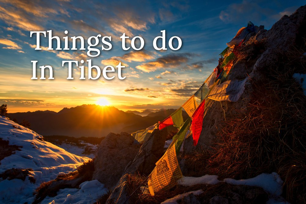 Flags of Tibetan prayers in the mountains text