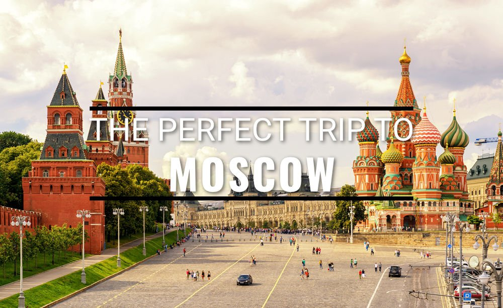 Kremlin and St Basil's Cathedral on the Red Square in Moscow in summer text