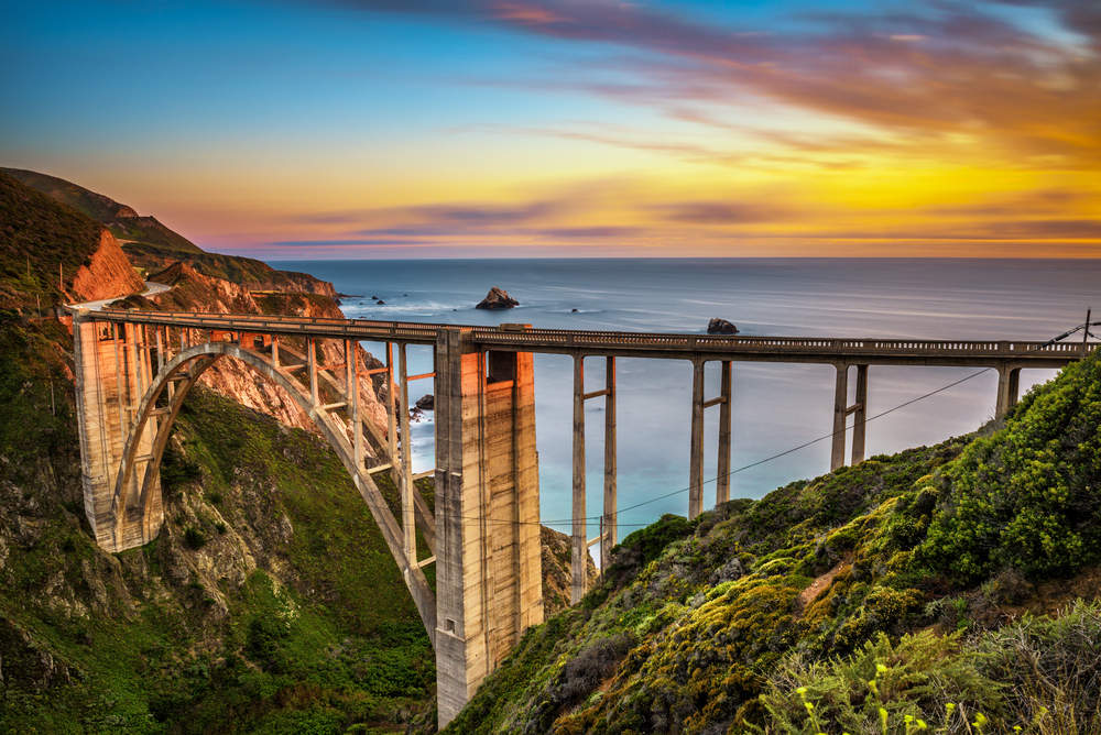 Pacific Coast Highway at sunset near Big Sur in California