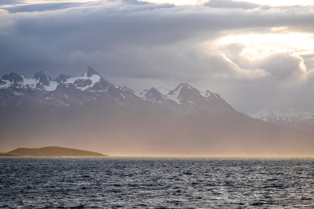View from Beagle Channel Tierra del Fuego Archipelago on the extreme southern tip of South America between Chile and Argentina