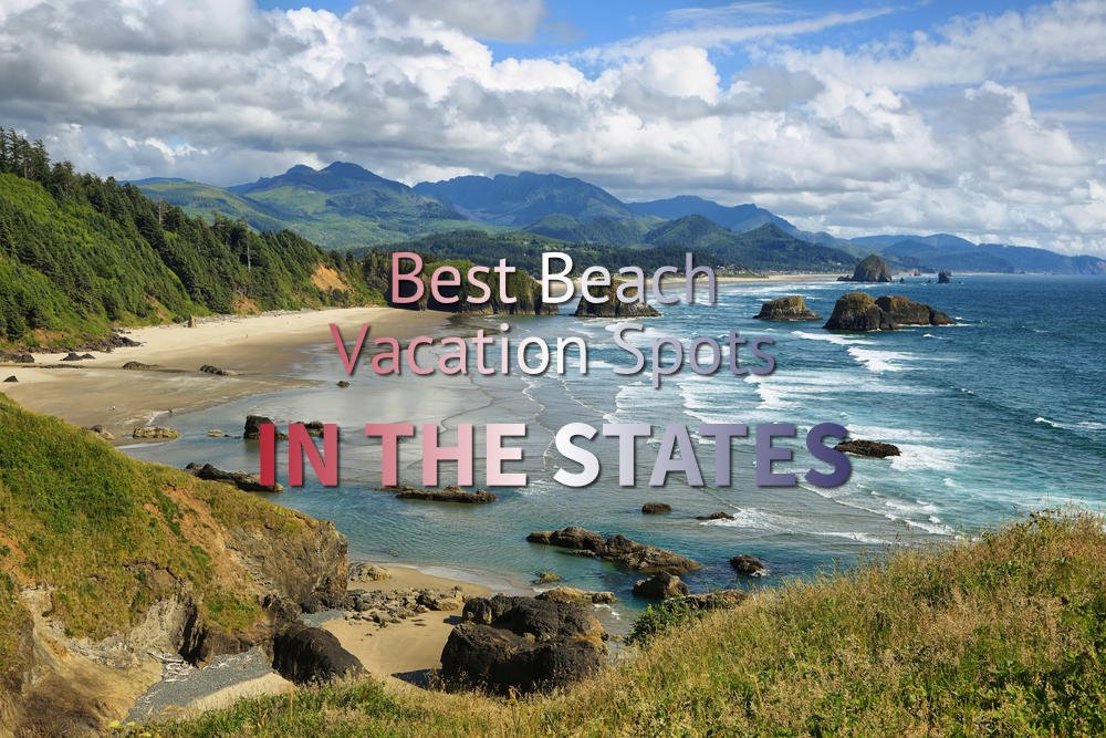 View of Cannon Beach and Indian beach in Ecola State park Oregon text
