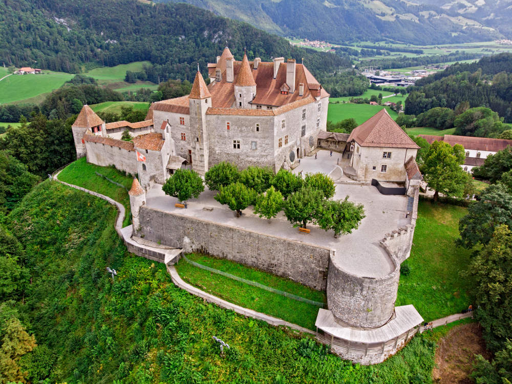 The Medieval Gruyere Castle, Canton of Fribourg, Switzerland