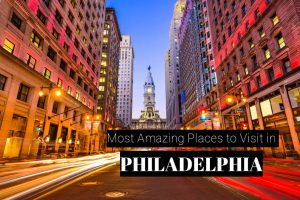 Philadelphia, Pennsylvania, USA downtown at city hall during eve