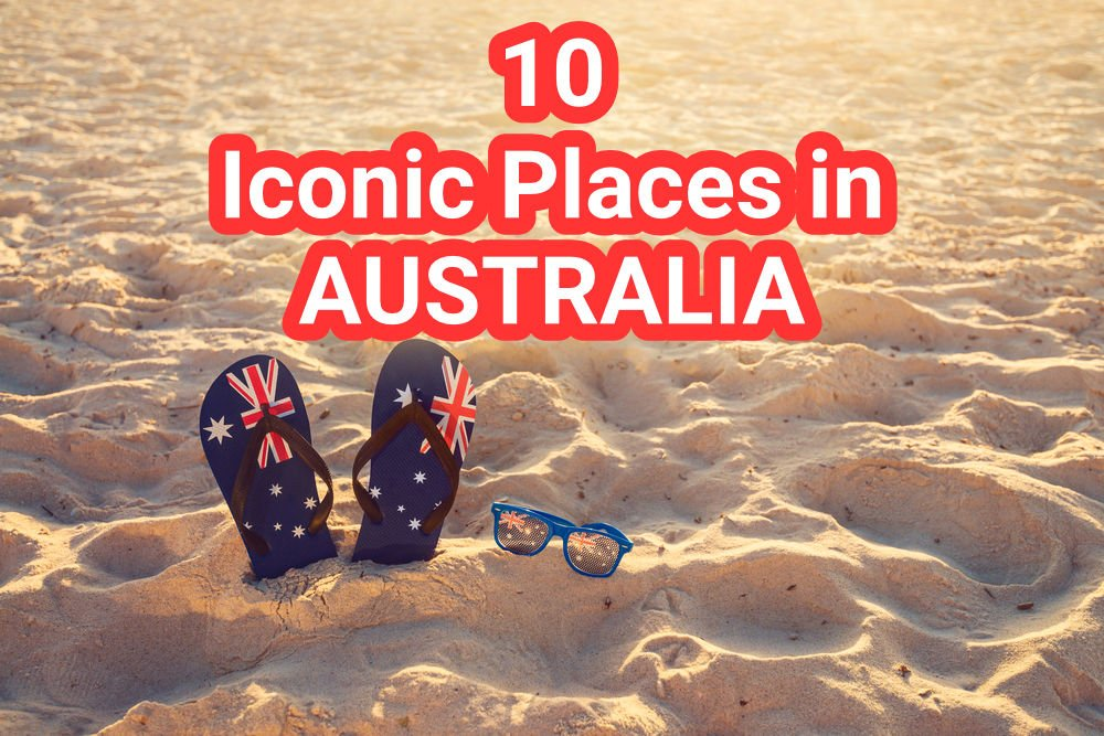 Thongs and sunglasses in sand on a beach, Australia day concept COVER