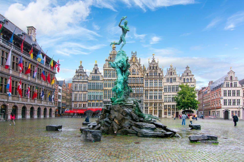 Brabo Fountain on the Market Square at Antwerp, Belgium