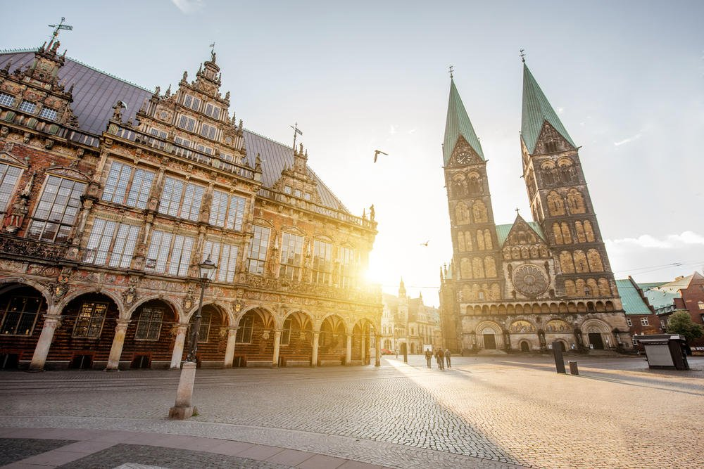 the Market Square and Saint Peter cathedral in Bremen city, Germany