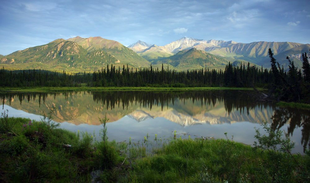 Mountain Lake Reflects in Spring