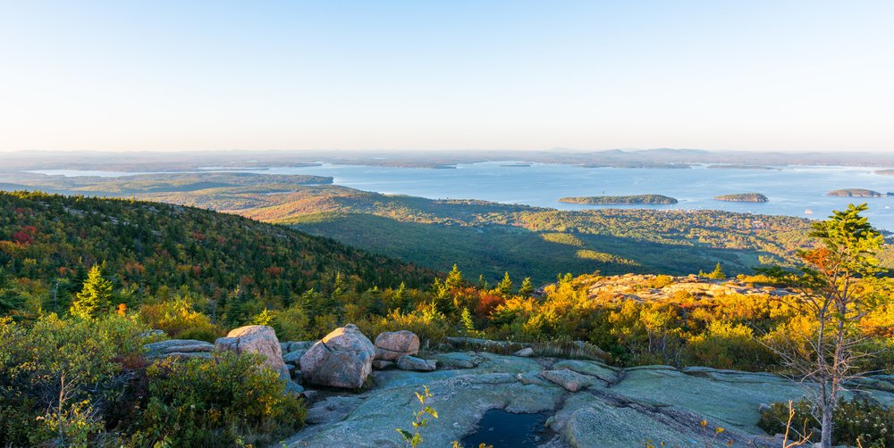 View from Cadillac Mountain at the Acadia National Park