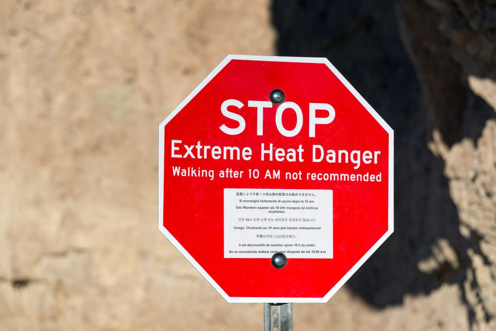 Extreme heat danger sign in Death Valley National Park