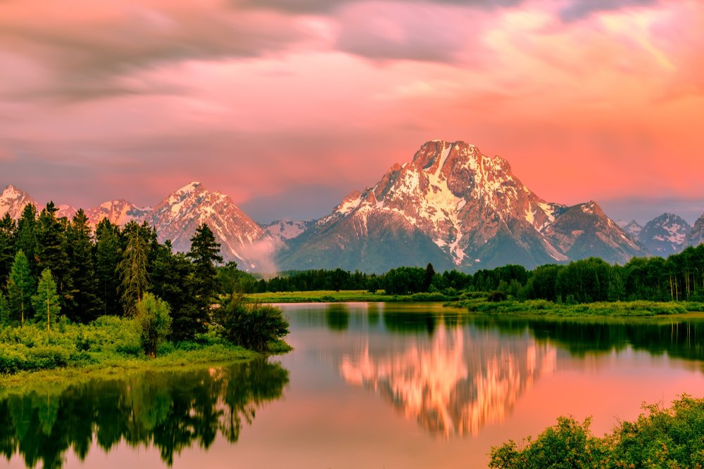 Grand Teton Mountains from Oxbow Bend on the Snake River at sunrise